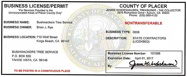 Placer County license
